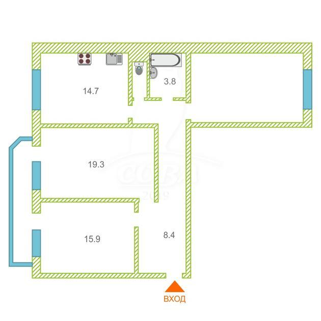 3 комнатная квартира  в районе МЖК, ул. Широтная, 126/2, г. Тюмень