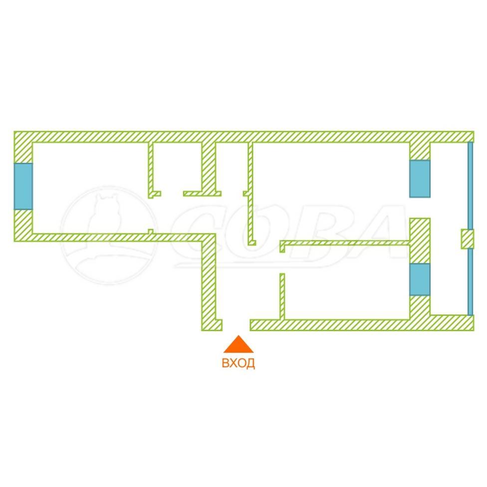 2 комнатная квартира  в районе Суходолье, ул. Линейная, 7, Жилой комплекс «Линейная», г. Тюмень