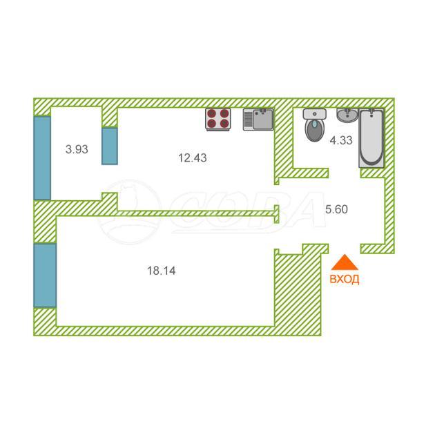1 комнатная квартира  в районе Взлетный, ул. Ивана Захарова, 15, ЖК «Литератор», г. Сургут
