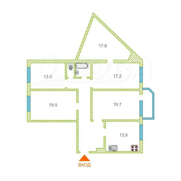 4 комнатная квартира  в районе ТЦ Магеллан, ул. 50 лет Октября, 30, г. Тюмень
