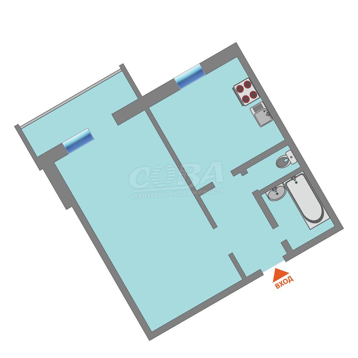 1 комнатная квартира  в районе Южный 2/ Чаплина, ул. Депутатская, 95, г. Тюмень