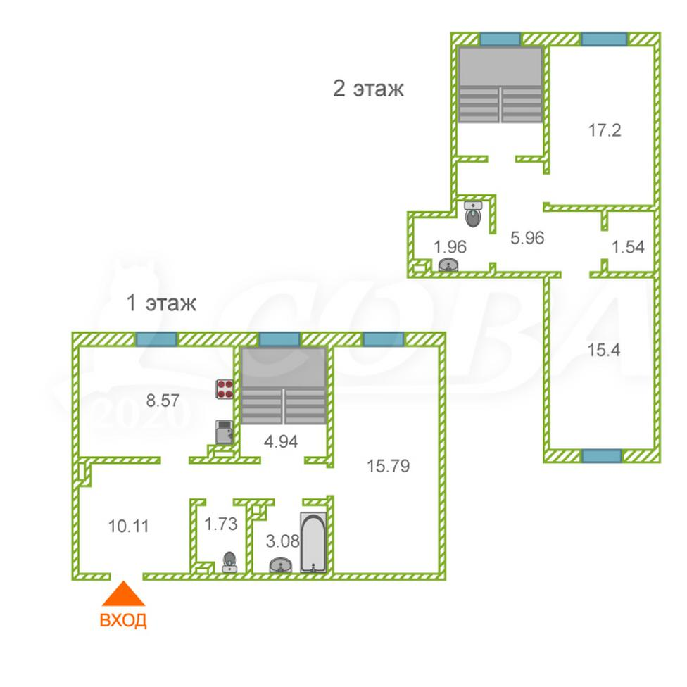3 комнатная квартира  в историческом центре, ул. Перекопская, 3, г. Тюмень