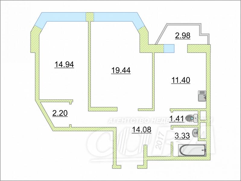 2 комнатная квартира  в районе ЖД Вокзала, ул. Первомайская, 50, Жилой комплекс «Столичный», г. Тюмень