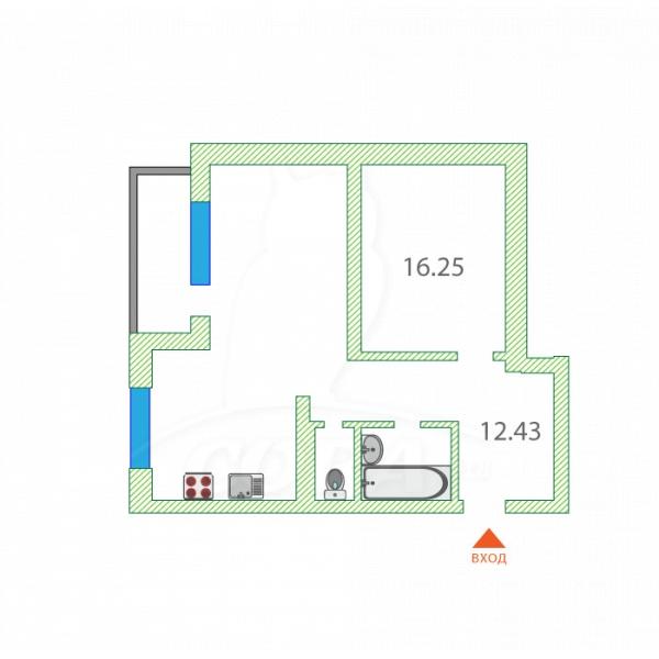 2 комнатная квартира  в районе Тюменская слобода, ул. Александра Протозанова, 18, ЖК «Преображенский», г. Тюмень
