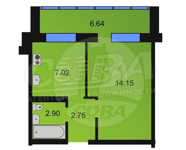 1 комнатная квартира  в районе Лесобаза (Тура), ул. Западносибирская, 14, г. Тюмень