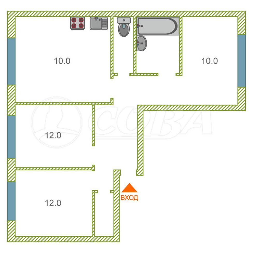 3 комнатная квартира  в районе Заозёрный, ул. 5-й микрорайон, 16, г. Курган