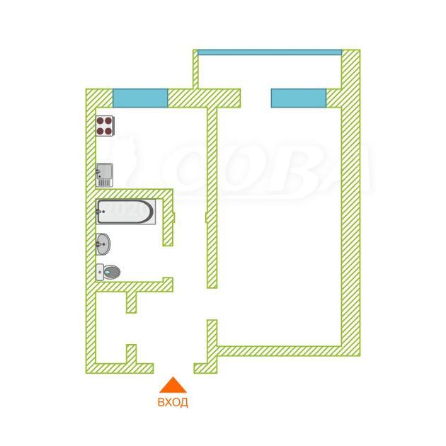 1 комнатная квартира  в районе центральная часть, ул. Максима Горького, 11, п. Боровский