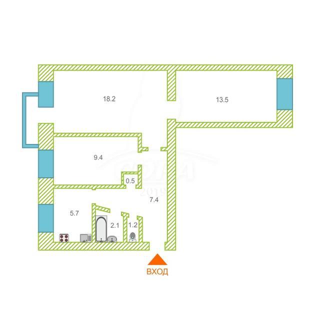 3 комнатная квартира  в центре, ул. Новикова, 28, г. Ялуторовск