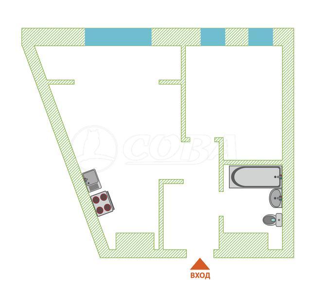 1 комнатная квартира  в Европейском мкрн., ул. Газовиков, 73/4, ЖК «Европейский берег», г. Тюмень