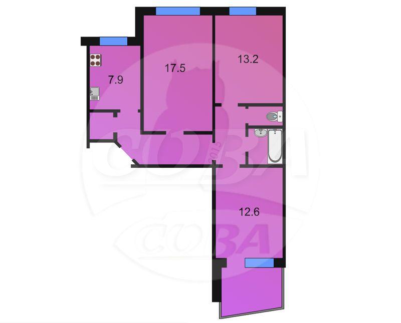 3 комнатная квартира  в 2 микрорайоне, ул. 30 лет победы, 96, г. Тюмень