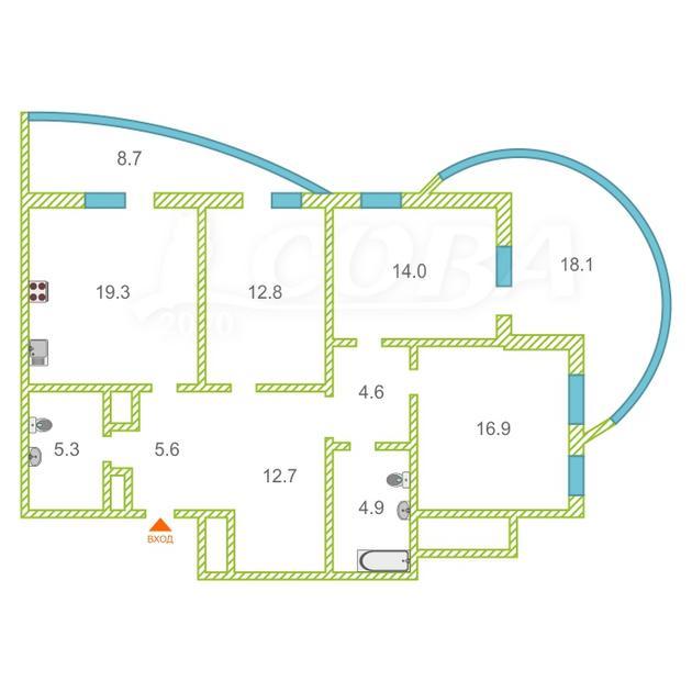 3 комнатная квартира  в районе Ожогина / Патрушева, ул. Федюнинского, 64, ЖК «Три Богатыря», г. Тюмень