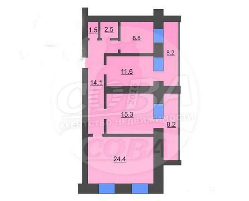 3 комнатная квартира  в районе ул.Малыгина, ул. Салтыкова-Щедрина, 58, г. Тюмень