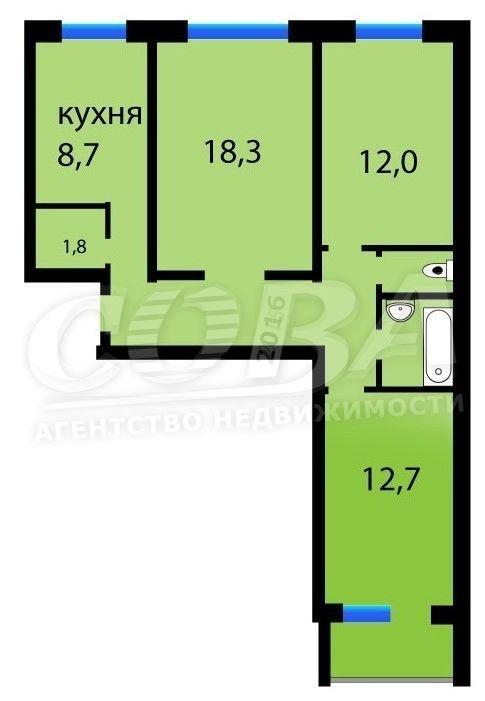 3 комнатная квартира  в районе Лесобаза (Тура), ул. Стартовая, 3, г. Тюмень