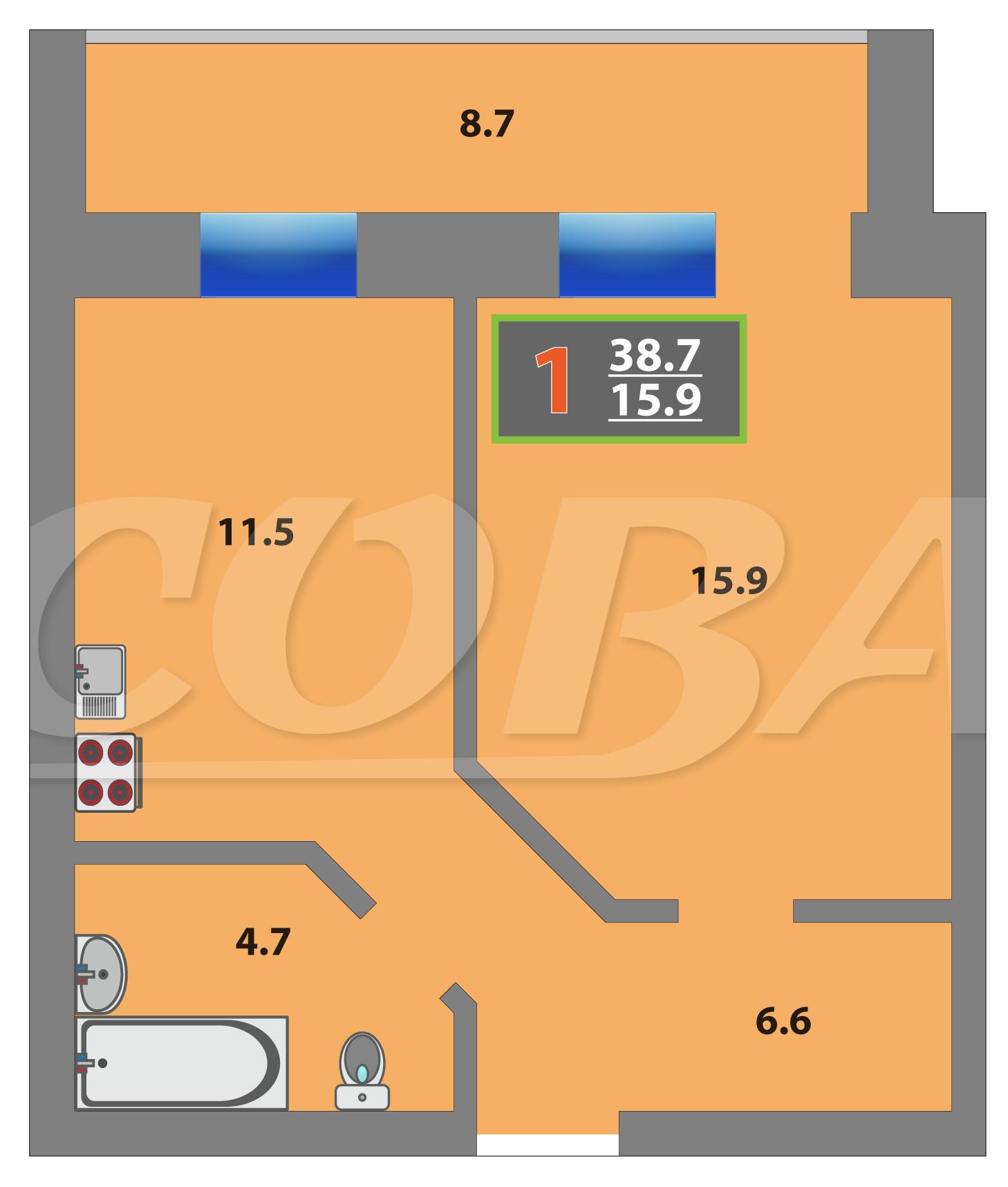1 комнатная квартира  в районе МЖК, ул. Суходольская, 14, Жилой комплекс «Олимпийская», г. Тюмень