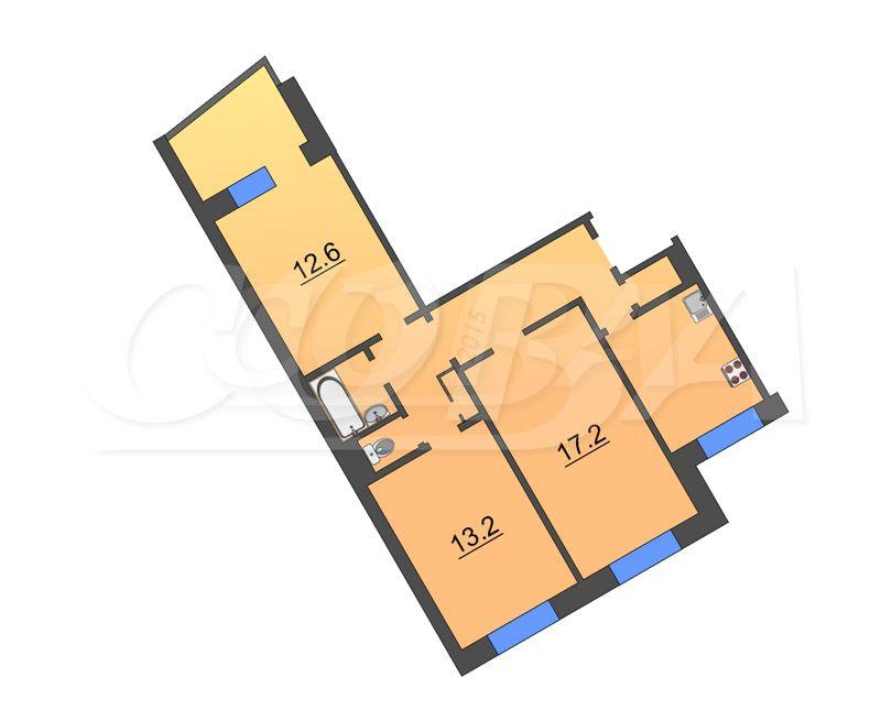 3 комнатная квартира  в районе Червишевского тр., ул. Ставропольская, 2, г. Тюмень
