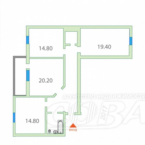 3 комнатная квартира  в районе ул.Малыгина, ул. Максима Горького, 83, Жилой дом на М. Горького, 83, г. Тюмень