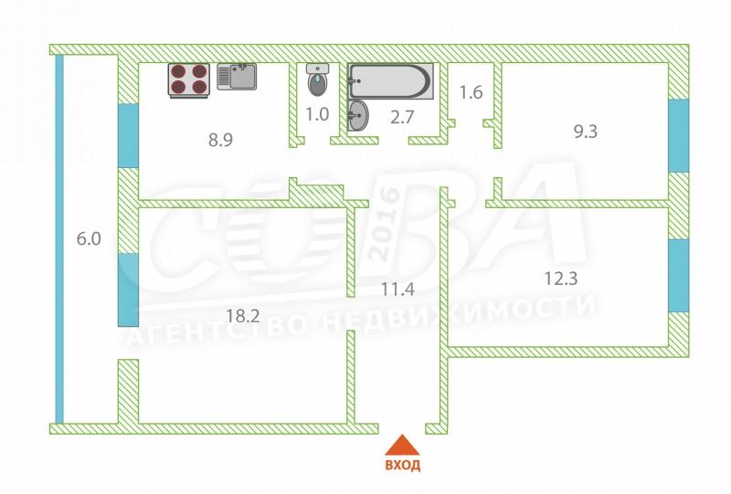 3 комнатная квартира  в районе Лесобаза, ул. Камчатская, 37, г. Тюмень
