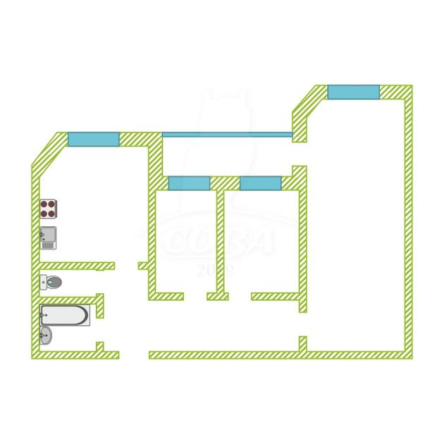3 комнатная квартира  в районе Южный 2/ Чаплина, ул. Мельникайте, 144А, г. Тюмень