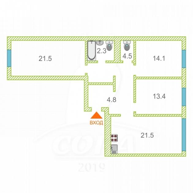 3 комнатная квартира  на КПД в районе 50 лет Октября, ул. 50 лет Октября, 57В, ЖК «Новин», г. Тюмень
