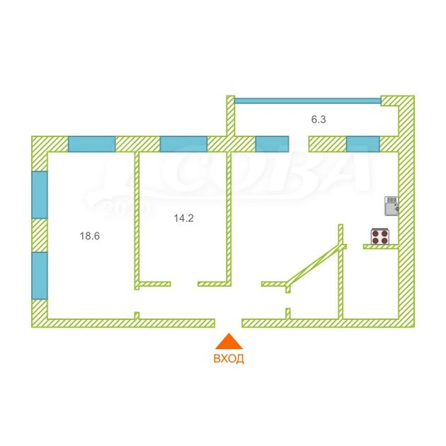 3 комнатная квартира  в Тюменском мкрн., ул. Прокопия Артамонова, 13, г. Тюмень