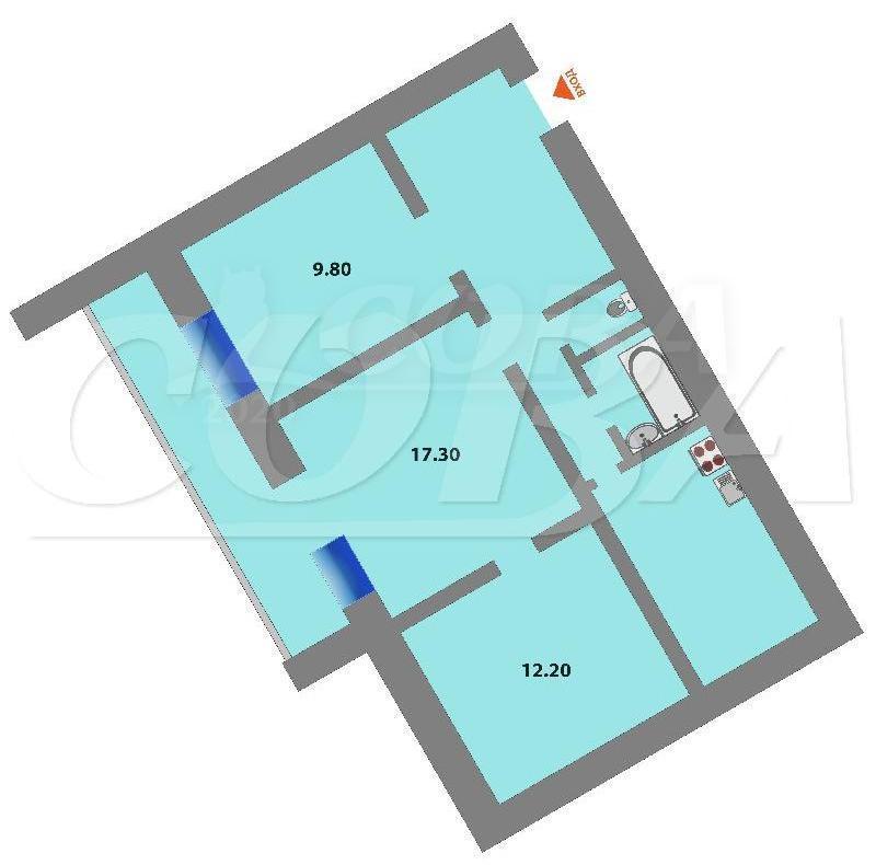 3 комнатная квартира  в 5 микрорайоне, ул. Широтная, 43/2, г. Тюмень