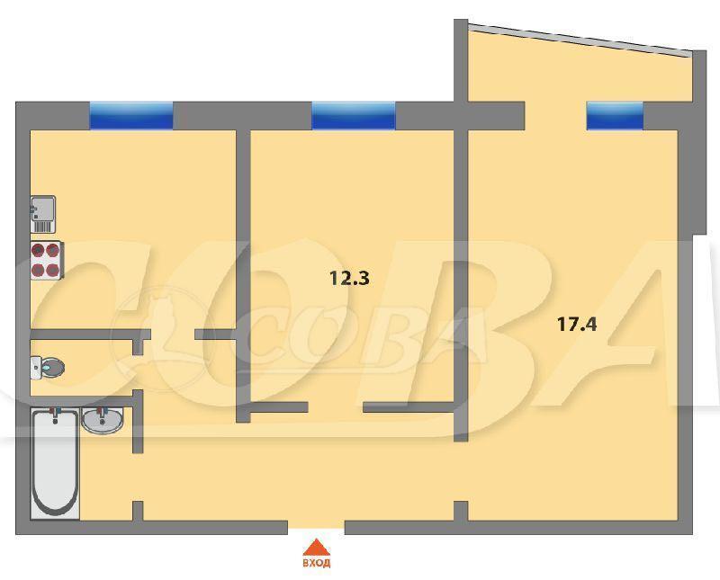 2 комнатная квартира  в Заречном 2 мкрн., ул. Заречный проезд, 10, г. Тюмень