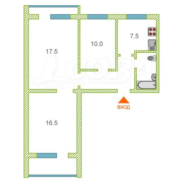 3 комнатная квартира  в районе Нагорный Тобольск, ул. 7-й микрорайон, 22, г. Тобольск
