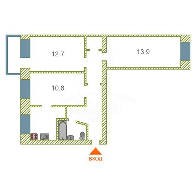 3 комнатная квартира  в районе ТЦ Магеллан, ул. Серова, 21, г. Тюмень