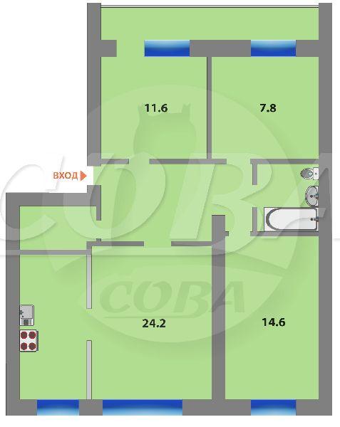 3 комнатная квартира  в районе Дом Обороны (Авторемонтная), ул. Авторемонтная, 21А, г. Тюмень