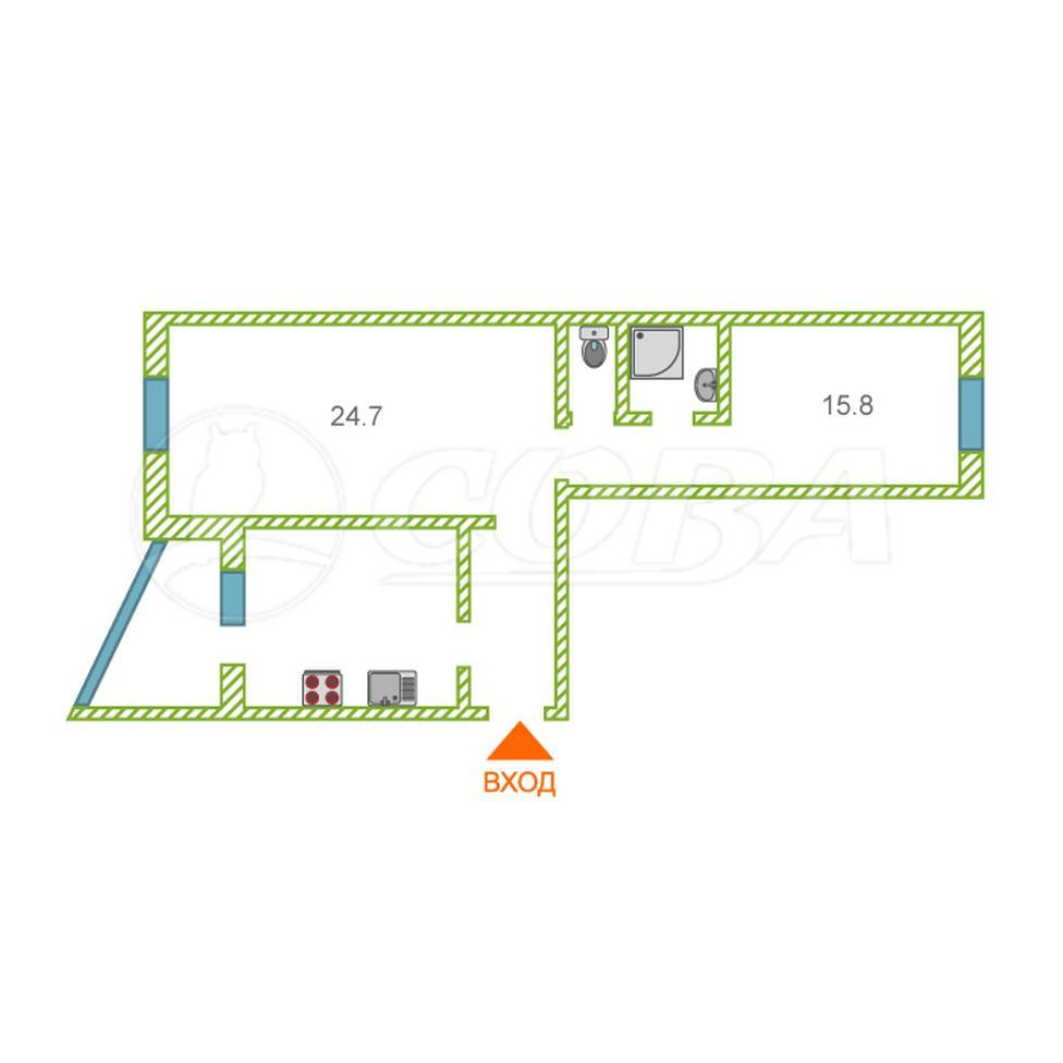3 комнатная квартира  в районе Взлетный, ул. Иосифа Каролинского, 12, г. Сургут