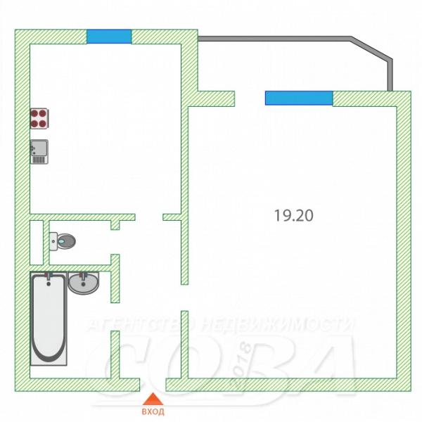 1 комнатная квартира  в районе Драмтеатра, ул. Холодильная, 116, г. Тюмень