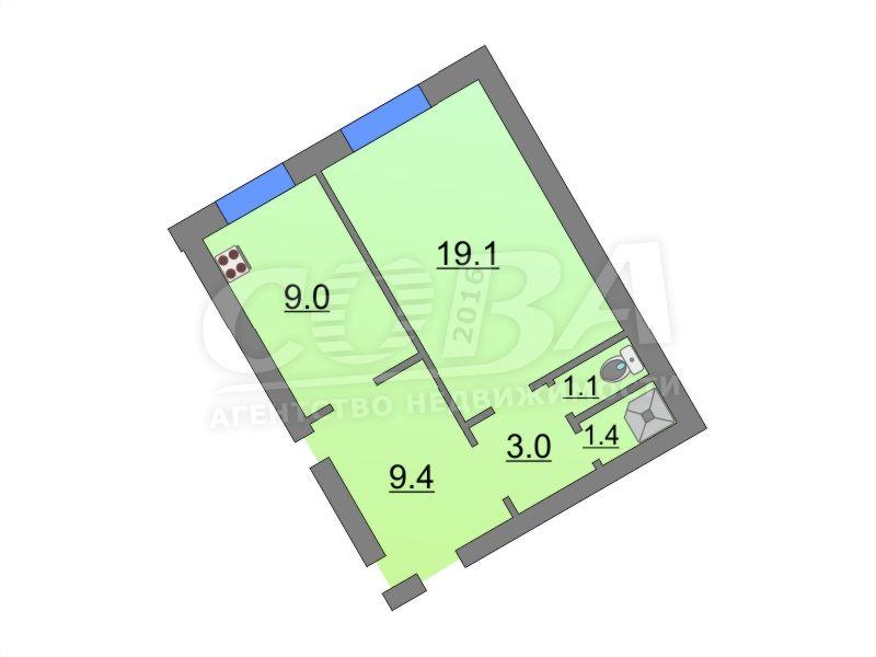 1 комнатная квартира  в районе Воровского, ул. Республики, 229, г. Тюмень