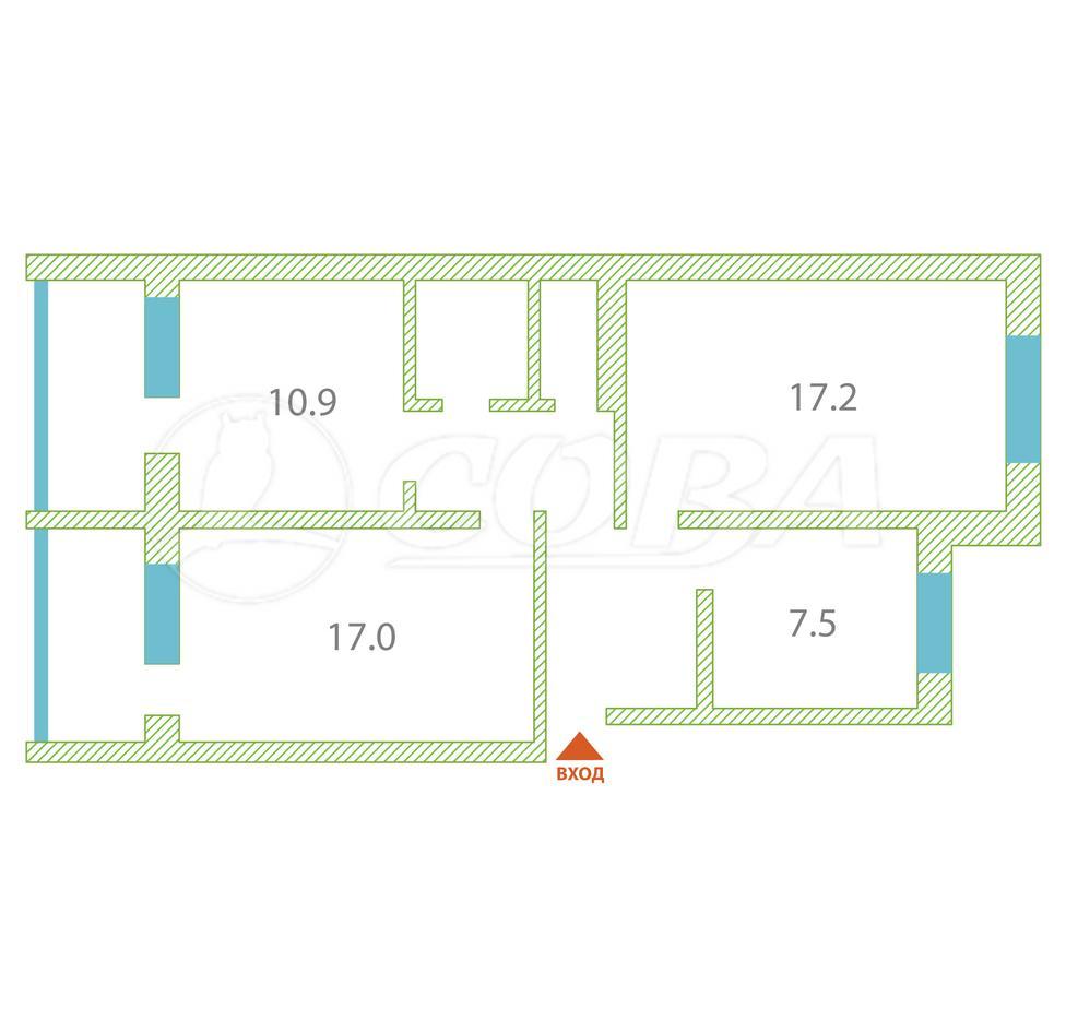 3 комнатная квартира  в районе Заозёрный, ул. 1-й микрорайон, 35, г. Курган
