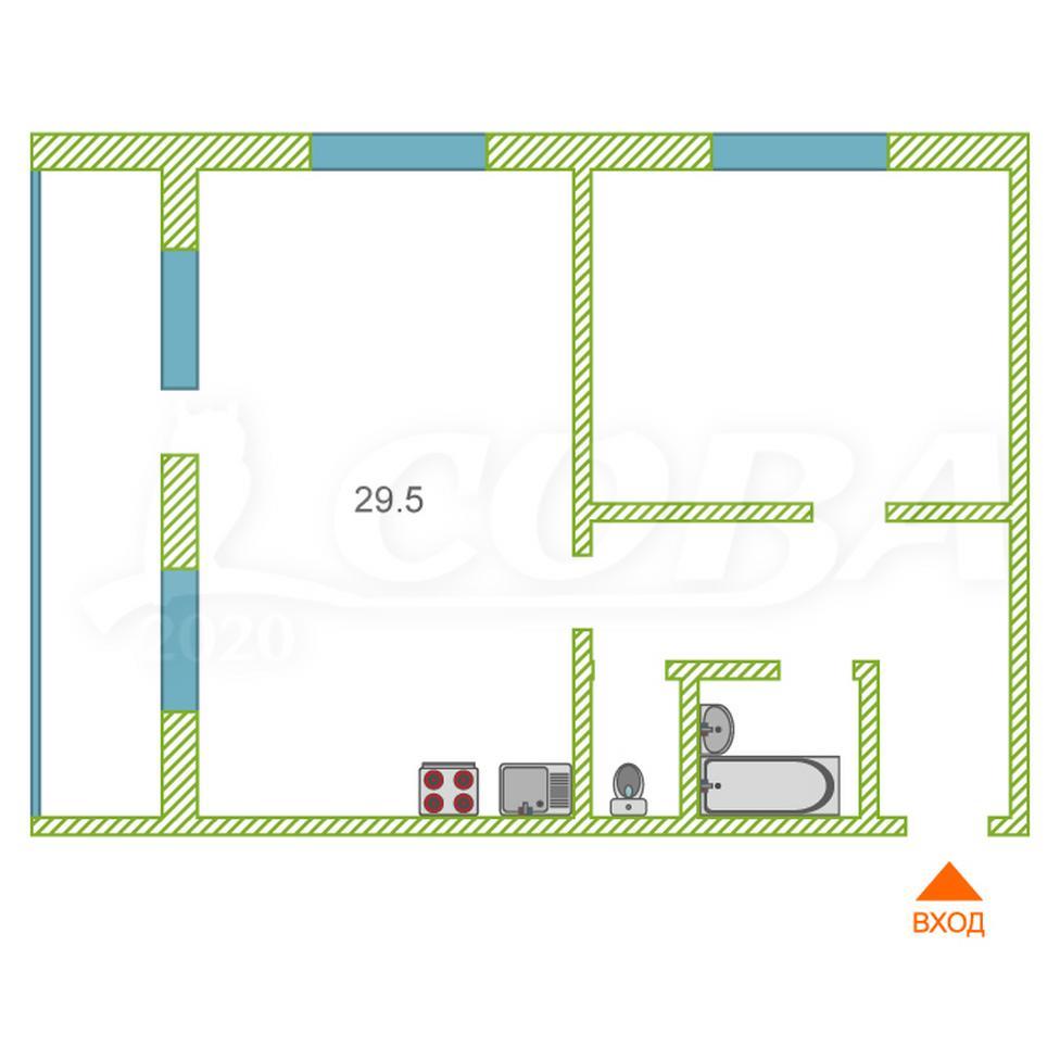 1 комнатная квартира  в районе КПД (Харьковская), ул. Харьковская, 68, Жилой комплекс «Центральный», г. Тюмень