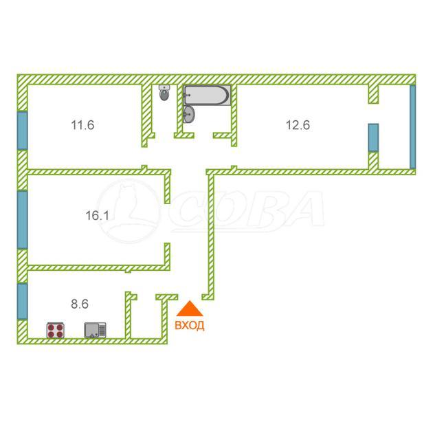3 комнатная квартира  в районе Лесобаза (Тура), ул. Западносибирская, 28, г. Тюмень
