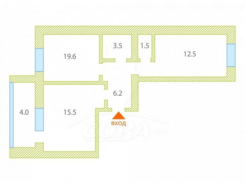 2 комнатная квартира  в районе Центральная часть, ул. Барачная, 6, с. Успенка