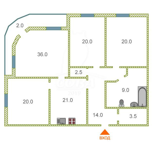 3 комнатная квартира  в районе Дома печати, ул. Советская, 55, г. Тюмень