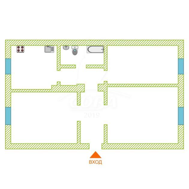 3 комнатная квартира  в районе Технопарка, ул. Минская, 102, г. Тюмень