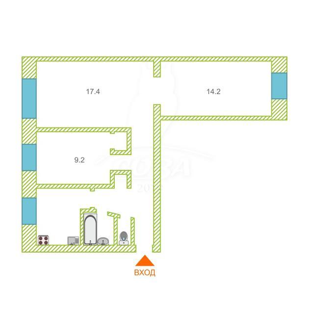 3 комнатная квартира  в районе Технопарка, ул. 50 лет ВЛКСМ, 71, г. Тюмень
